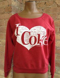 Coca Cola ~ Red Crew Sweater size Medium ~ I LOVE COKE Top #CocaCola #Crewneck