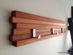 "Wood Coat Rack 3 Hook Key Hat Minimalist Modern Wall Hanging  22"" w/ 3 Hooks sur Etsy, $58.12 CAD"