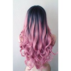 Hand dye Dark roots Pastel pink wig. Pink Ombre wig. Mauve Pink wig. ❤ liked on Polyvore featuring hair
