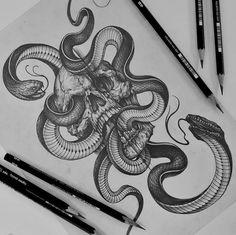 done by tattooist_sagae Sketch Tattoo Design, Skull Tattoo Design, Tattoo Sketches, Tattoo Drawings, 4 Tattoo, Dark Tattoo, Snake Tattoo, Tribal Sleeve Tattoos, Skull Tattoos