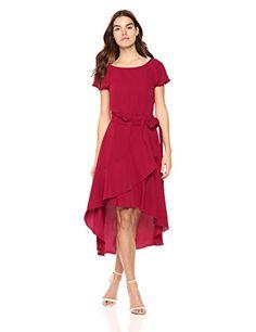 be6f37612a Laundry by Shelli Segal Women s Crepe Dress With Asymmetrical Hi-Low Hem