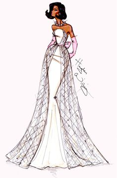 #Hayden Williams Fashion Illustrations  #Inauguration Ball Couture by Hayden Williams for Michelle Obama