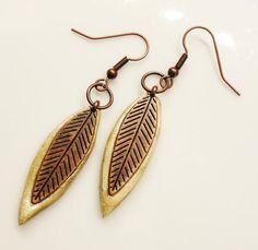 Salt Dough And Metal Leaf Earrings by SimplyChicCositas on Etsy, $10.50