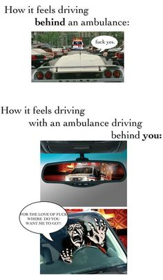 In front vs behind an ambulance