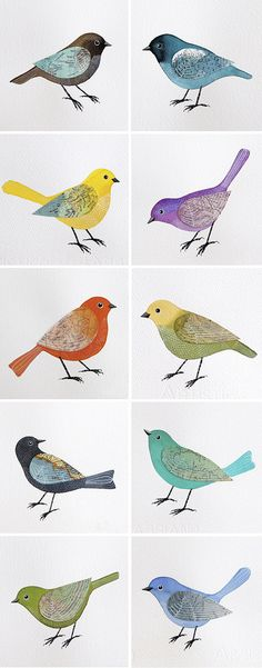 colored birds mixed media art by Geninne.  they'd be lovely in our dining room.