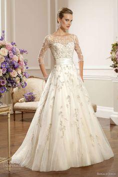 ronald joyce 2013 wedding dress with sleeves....the beading is beautiful