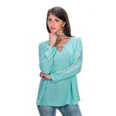 Blouse verte à manches longues http://www.princesseboutique.com/tops-tee-shirts/