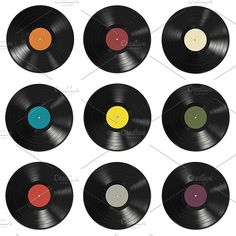 Vinyl records set Graphics Vinyl records set:- vinyl records with colorful labels on white, red and blue background- vinyl re by bolotoff