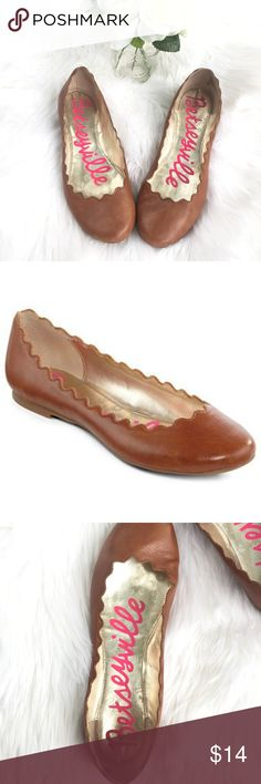 e1014ac7326 Betseyville Tan Brown Flats with Scallop Edges Betseyville Brown Flats with  Scallop Edges. -