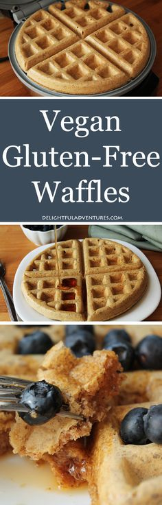 gluten free breakfasts Look no further, this recipe for easy vegan gluten free waffles is THE perfect waffle recipe you've been looking for! Crispy on the outside and soft and fluffy inside, just like waffles should be. Vegan Foods, Vegan Dishes, Dairy Free Recipes, Vegan Recipes, Vegan Ideas, Easy Recipes, Easy Meals, Patisserie Sans Gluten, Gluten Free Waffles