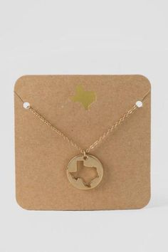 Road Trip Texas Cutout Delicate Pendant Necklace