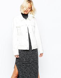 White denim jacket with raw hems