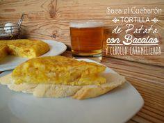 Tortilla de patata, bacalao y cebolla caramelizada