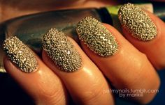 These are so easy to do....Just paint you nails as you would...Pour the caviar beads on a plate or something and completly cover the painted nails and let dry...If needed seal with a clear coat..You can find these caviar beads for about 3 dollars at any craft store!