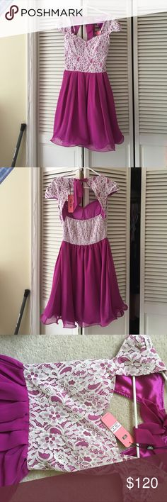 Pink lace dress Never worn before. Beautiful pink dress with lace top. Tag still attached ModCloth Dresses Prom
