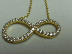 Gold tone Infinity necklace, crystal rhinestone gold tone chain, gift for her, retro necklace, Gingerslittlegems by GingersLittleGems on Etsy