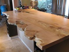 Live Edge Slab for Island. we have lots of live edge wood already, wouldn't have thought of the island top! Live Edge Furniture, Log Furniture, Furniture Stores, Kitchen Island Bar, Live Edge Wood, Live Edge Slabs, Wood Countertops, Live Edge Countertop, Wood Design