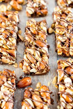 Homemade Dark Chocolate Sea Salt KIND Nut Bars (V, GF, DF): a protein-rich recipe for homemade KIND bars drizzled in dark chocolate and sprinkled with sea salt. #Vegan #GlutenFree #DairyFree #ProteinPacked   BeamingBaker.com
