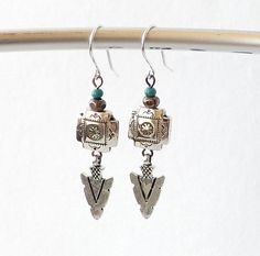 Sterling Silver Turquoise Copper Earrings by connectionsbymaya