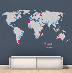 World Map decal with pins in vinyl for housewares 2 Wall Stickers World Map, World Map Decal, World Map Wall Art, Wall Maps, Vinyl Wall Stickers, Wall Decals, World Map With Pins, New Wall, Beautiful Wall