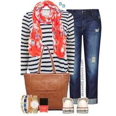 Plus Size - Spring Stripes by  - I feel like the combo of striped top and printed scarf was not that great. I'm a much bigger fan of the striped top/colorful statement necklace combo.