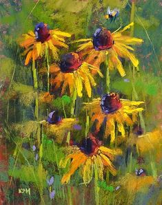 Why Learning to Paint is a Lot Like Gardening Original art painting by Karen Margulis -… Art Pastel, Pastel Artwork, Pastel Flowers, Pinturas Color Pastel, Garden Painting, Black Eyed Susan, Chalk Pastels, Arte Floral, Learn To Paint