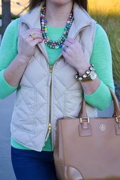Fall Outfit - Mint Sweater + Puffer Vest