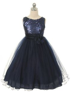 Navy Sequined Bodice with Double Tulle Skirt Flower Girl Dress (Sizes 2-14 in 9 Colors)