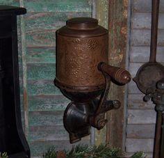 Primitive Antique Vtg ROYAL Cast Iron Coffee Mill Grinder Stamped Tin Canister #NaivePrimitive