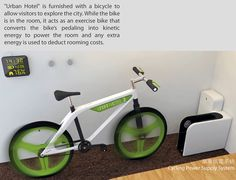 BIKE RIDES REDUCE THE BILL OF YOUR HOTEL STAY :: The Urban Hotel is a concept hotel designed for short term travellers that - in addition to being solar powered and having a rainwater recycling system - comes with a bike.  If you're not petered out by your rides around town, connect the bike to an energy storage device in the room and ride it like an exercise bike.  The kinetic energy you generate is captured by the device and the resultant energy value is deducted from the bill of your…