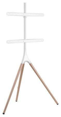 "Tripod Easel TV Stand, Fits Screens 43""- 65"", Wooden Legs, 180° Swivel – White/Oak, Minimalist Mid-Century Modern Tv Stand Legs, Diy Tv Stand, Swivel Tv Stand, Easel Tv Stand, Contemporary Design, Modern Design, Unwanted Furniture, Wooden Tv Stands, Retail Fixtures"