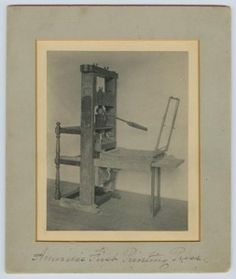 The Daye printing press- America's first printing press (image from Cambridge Historical Society)