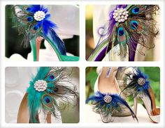 Shoe Clips Royal Blue Peacock Fan. Bride Bridal Bridesmaid, Birthday Awards Glam, Feminine Large Rhinestone, Statement Couture Teal Metallic