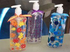 Creative Bling: hand sanitizers decorated with vinyl.
