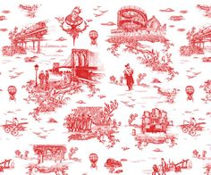 Brooklyn Toile by Beastie Boys' Mike D - Neatorama  Toile du Jouy prints usually depict bucolic scenes of farm animals, couples on a picnic and such, but that won't do for Beastie Boys singer Mike D. When Mike wanted to decorate his Brooklyn house, he decided to fight for his right to design his own Brooklyn-themed toile wallpaper.