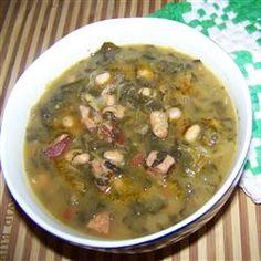 Swamp Soup (aka: turnip green soup) with smoked sausage Turnip Green Soup, Turnip Greens, Collard Green Soup, Soup Recipes, Cooking Recipes, Healthy Recipes, Recipies, Veggie Recipes, Advocare Recipes