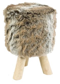 This faux fur stool has three sturdy wooden legs and a wonderfully fluffy polyester cover. Whether used as a super soft stool to sit on or a luxuriously comfortable footrest. Makes the home feel cozy !