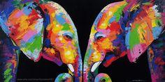 Elephant artwork acrylic on canvas Artist Sumaree Nunsang