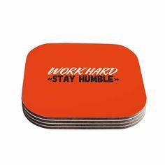 Kess InHouse Juan Paolo 'Work Hard Stay Humble' Digital Vintage Coasters (Set of 4) (Work Hard Stay Humble), Brown coffee (Wood)