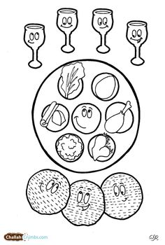 This coloring page has it all: four cups of wine, three pieces of matzah, and a happy seder plate!
