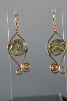 Unicorne Lampwork Lentil Beads with Bronze wire wrapped Earrings