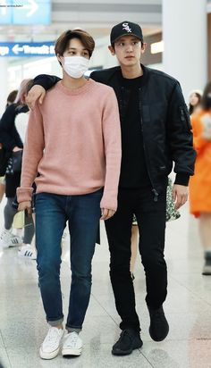 exo park chanyeol pcy and kai kim jongin Kpop Exo, Exo Kai, Park Chanyeol, Chanyeol Baekhyun, Chanbaek, Chansoo, Kpop Fashion, Korean Fashion, Airport Fashion
