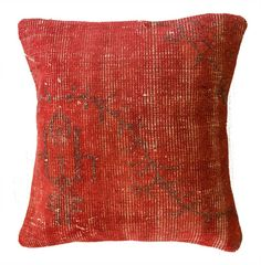 $89.99 Overdyed Red Pillow: Throw on an extra layer of stylish comfort to your bed or sofa with this overdyed red pillow.Hand-knotted in Turkey from vintage overdyed rugs, this wool pillow is truly a one-of-a-kind.