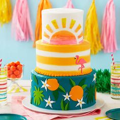 Wish a loved one bon voyage on their new adventure with this Tropical Getaway Retirement Cake. Flamingo Cake, Flamingo Birthday, Fondant Icing, Buttercream Cake, Retirement Party Cakes, Blue Icing, How To Stack Cakes, Smooth Cake, Birthday Cakes