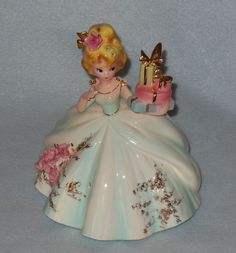 "Vintage+Josef+Originals+7""+Lady+in+Blue+Ball+Gown+w/Stacked+Gifts+VGC+"