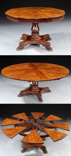 Extremely Rare and Important Circular Extension Dining Table Patented by Robert Jupe. This and more rare antique furniture for sale on CuratorsEye.com
