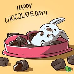 Roses are red. Chocolate is sweet. I ate too much. It's time to sleep.  Happy Chocolate Day!! #chocolateday #bunny #cute #teeturtle