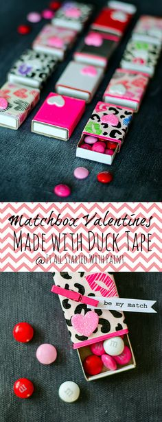 :)make w/ christmas duct tape & fill w/ christmas candy. Tie ribbon so matchbox cannot be opened @ craft fair :)make w/ christmas duct tape & fill w/ christmas candy. Tie ribbon so matchbox cannot be opened @ craft fair Washi Tape Crafts, Duck Tape Crafts, Homemade Valentines, Valentine Day Crafts, Fun Crafts, Crafts For Kids, Matchbox Crafts, Ideias Diy, Valentine's Day Diy