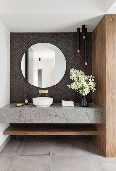 On Trend: Wood Accents Are The New Neutral   Atlanta Real Estate   Beacham & Company REALTORS Minimal Bathroom, Modern Bathroom Design, Bathroom Interior Design, Home Interior, Bathroom Designs, Bathtub Designs, Modern Bathtub, Contemporary Bathrooms, Modern Contemporary
