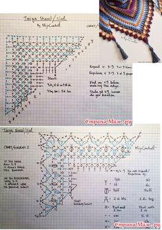 Crochet Triangle Scarf, Crochet Shrug Pattern, Crochet Diagram, Crochet Chart, Crochet Motif, Crochet Designs, Crochet Lace, Crochet Stitches, Crochet Patterns